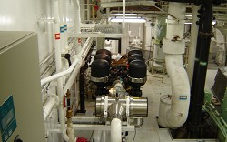 A combination medium pressure UV/filtration system installed<br>on a cruise ship, with a flow rate of 210m3/hr. Courtesy of Hyde Marine, Inc.